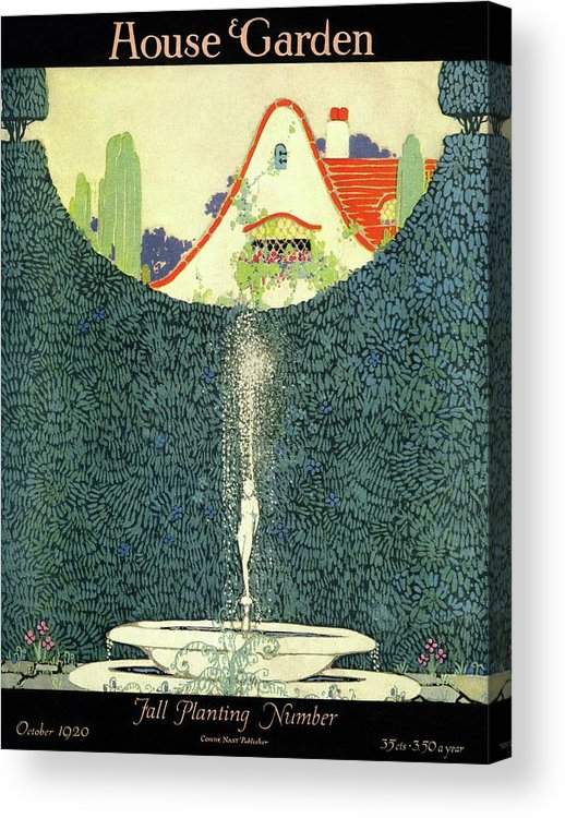 House And Garden Acrylic Print featuring the photograph A Fountain With A Hedge In The Background by H. George Brandt
