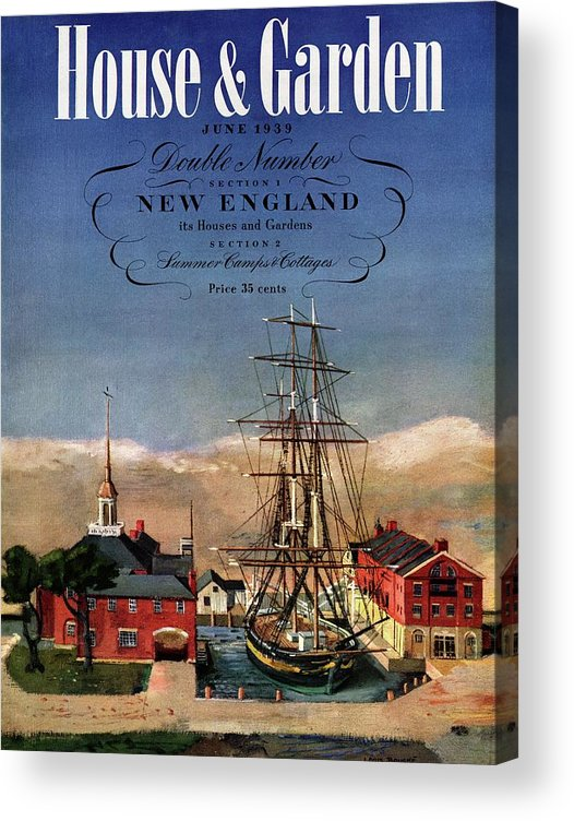Illustration Acrylic Print featuring the photograph A House And Garden Cover Of A Model Ship by Louis Bouche