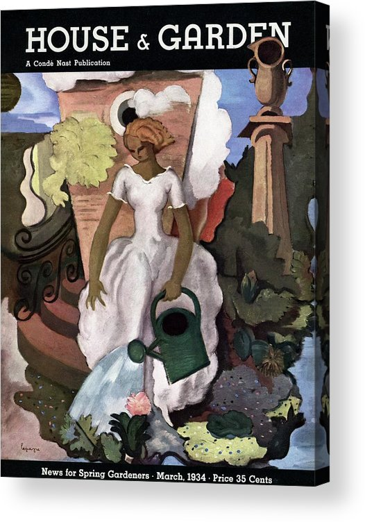 Illustration Acrylic Print featuring the photograph A House And Garden Cover Of A Woman Watering by Georges Lepape