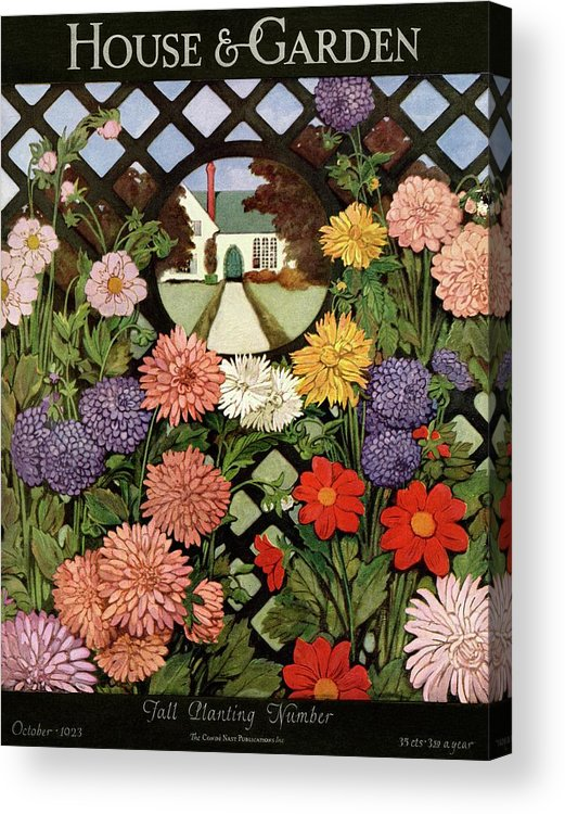 Illustration Acrylic Print featuring the photograph A House And Garden Cover Of Flowers by Ethel Franklin Betts Baines