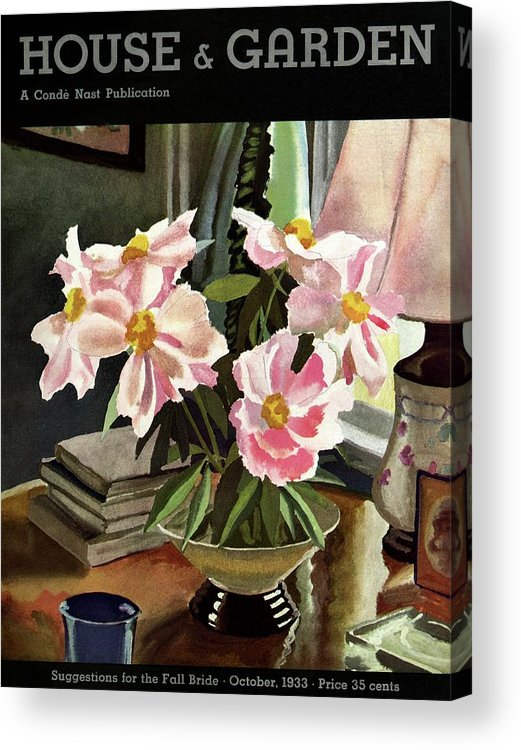 Illustration Acrylic Print featuring the photograph A House And Garden Cover Of Rhododendrons by David Payne