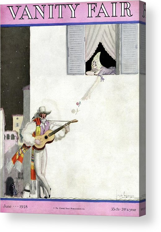 Illustration Acrylic Print featuring the photograph A Latin Man Serenading A Woman by Georges Lepape