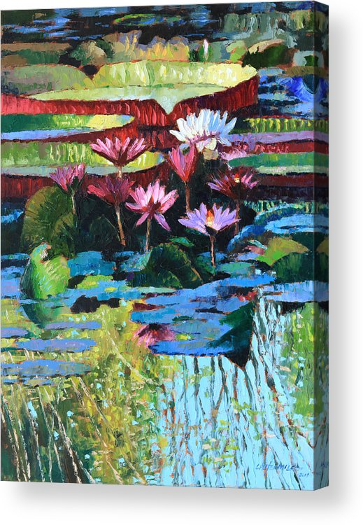 Garden Pond Acrylic Print featuring the painting A Splash of Sunlight by John Lautermilch