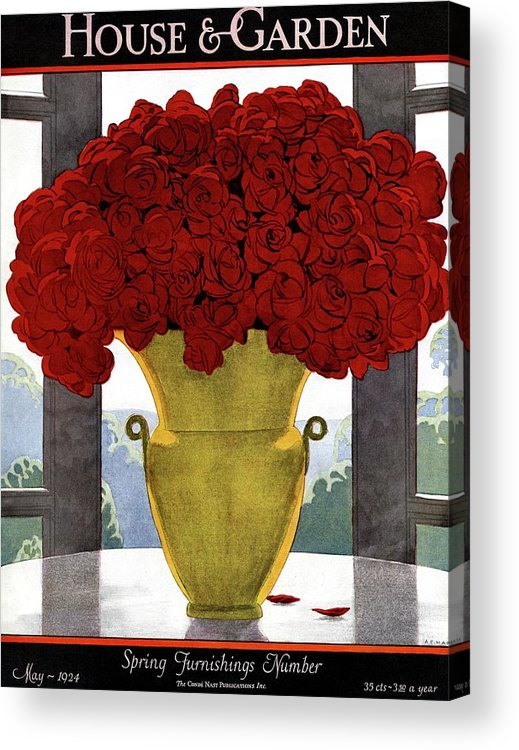 House And Garden Acrylic Print featuring the photograph A Vase With Red Roses by Andre E Marty