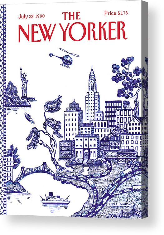 New York City Acrylic Print featuring the painting New Yorker July 23, 1990 by Pamela Paparone