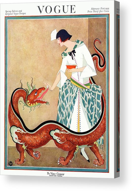 Illustration Acrylic Print featuring the photograph A Vogue Cover Of A Woman With A Chinese Dragon by George Wolfe Plank