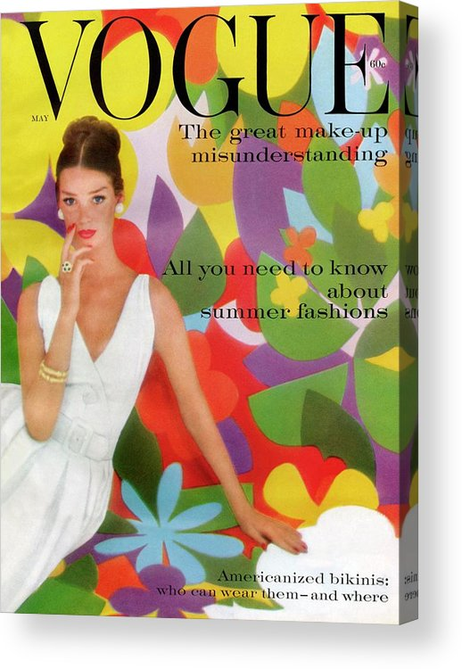 Fashion Acrylic Print featuring the photograph A Vogue Cover Of Dolores Hawkins With A Floral by William Bell