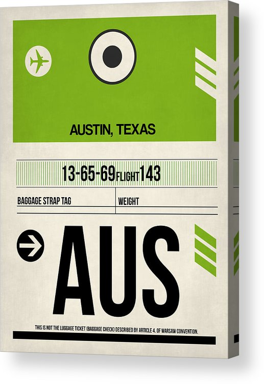 Austin Acrylic Print featuring the digital art Austin Airport Poster 1 by Naxart Studio