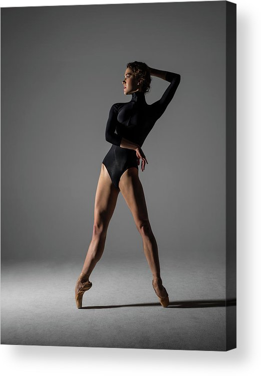 Ballet Dancer Acrylic Print featuring the photograph Ballerina Performing Relevé On Point by Nisian Hughes
