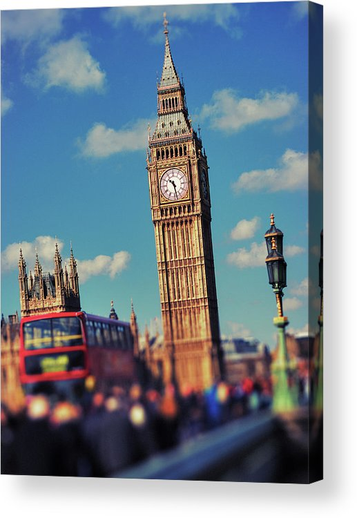 Clock Tower Acrylic Print featuring the photograph Big Ben And Commuter Traffic by Doug Armand