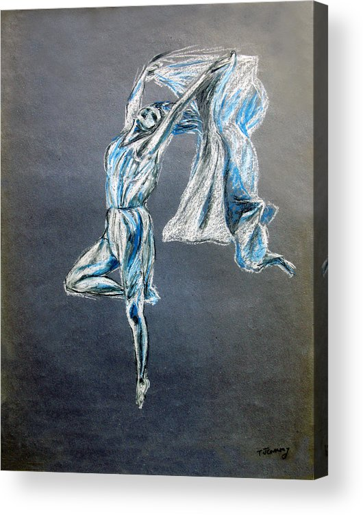 Ballet Acrylic Print featuring the drawing Blue Ballerina dance art by Tom Conway