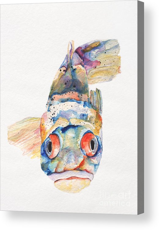 Pat Saunders-white Acrylic Print featuring the painting Blue Fish  by Pat Saunders-White