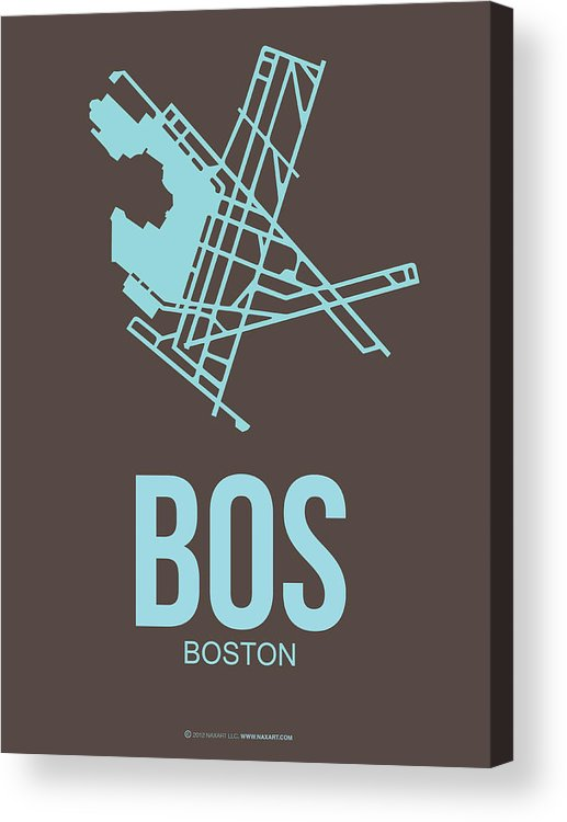 Boston Acrylic Print featuring the digital art BOS Boston Airport Poster 2 by Naxart Studio