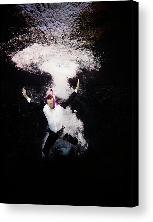 People Acrylic Print featuring the photograph Businessman In Suit Plunging Into Water by Thomas Barwick