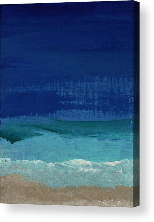 Abstract Art Acrylic Print featuring the painting Calm Waters- Abstract Landscape Painting by Linda Woods