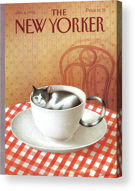 Cat Acrylic Print featuring the painting New Yorker January 6, 1992 by Gurbuz Dogan Eksioglu