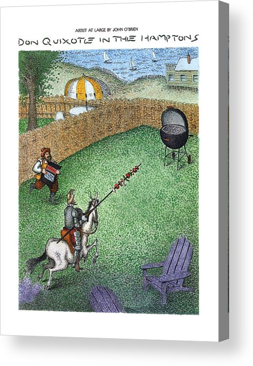 Don Quixote In The Hamptons (don Quixote On Horseback Acrylic Print featuring the drawing Don Quixote In The Hamptons by John O'Brien