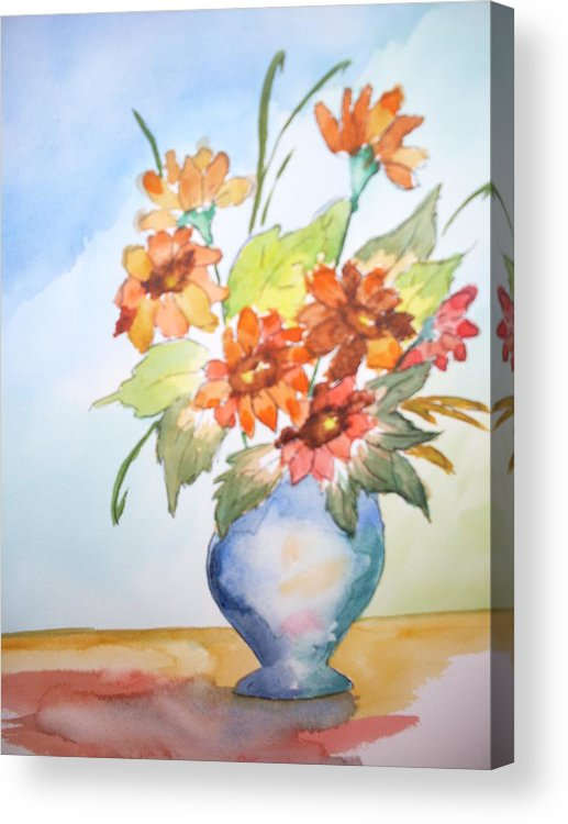 Floral Still Life Acrylic Print featuring the painting Fall Bouquet by Warren Thompson
