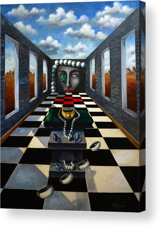 Surreal Landscape Acrylic Print featuring the painting Family Jewels by Valerie Vescovi
