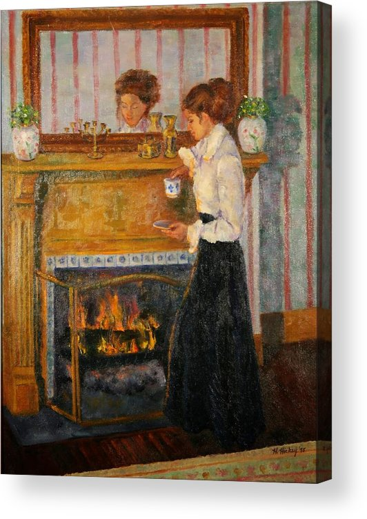 Acrylic Print featuring the painting Fireside by Helen Hickey