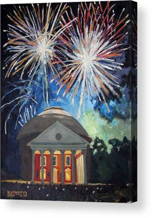 Rotunda. University. Virginia. Charlottesville. Fireworks. Acrylic Print featuring the painting Fireworks Over The Rotunda by Robert Holewinski