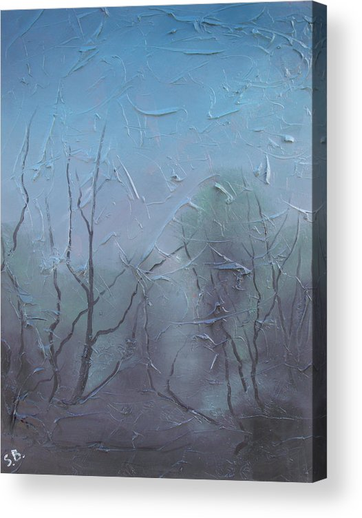Landscape Acrylic Print featuring the painting Fog by Sergey Bezhinets