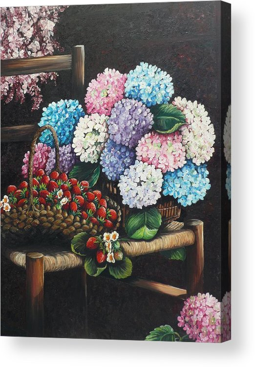 Hydrangea Paintings Floral Paintings Botanical Paintings Flower Paintings Blooms Hydrangeas Strawberries Paintings Red Paintings Basket Paintings Pink Paintings Garden Paintings  Blue Paintings  Greeting Card Paintings Canvas Paintings Poster Print Paintings  Acrylic Print featuring the painting From My Garden by Karin Dawn Kelshall- Best
