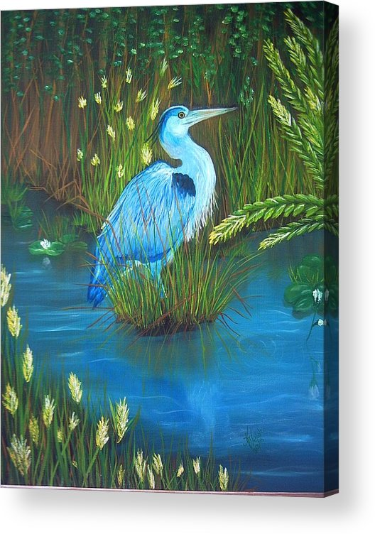 Birds Acrylic Print featuring the painting Great Blue Heron by Kathern Ware