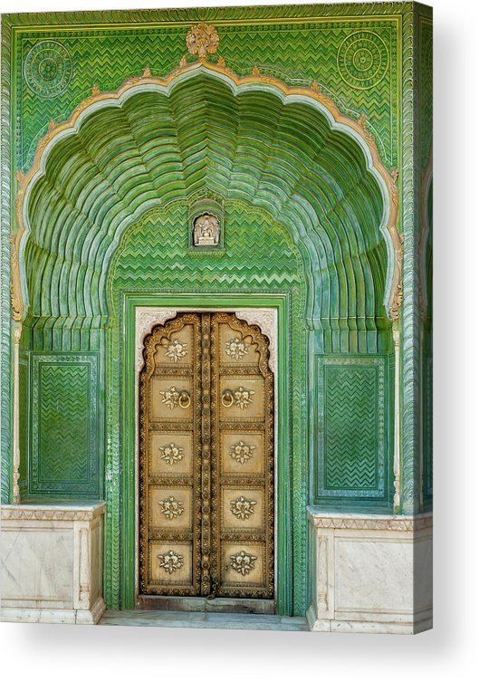 Arch Acrylic Print featuring the photograph Green Gate In Pitam Niwas Chowk by Hakat