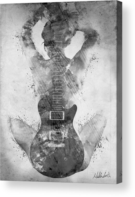 Guitar Acrylic Print featuring the digital art Guitar Siren in Black and White by Nikki Smith
