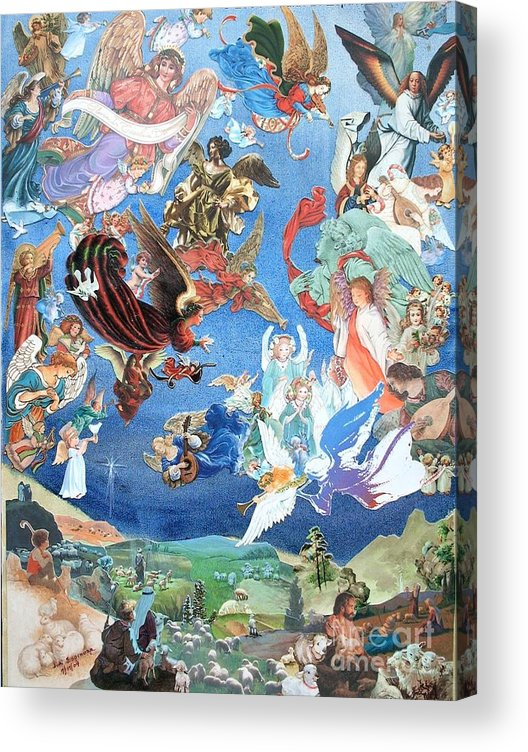 Landscape Acrylic Print featuring the mixed media Heavenly Host - Two - SOLD by Judith Espinoza