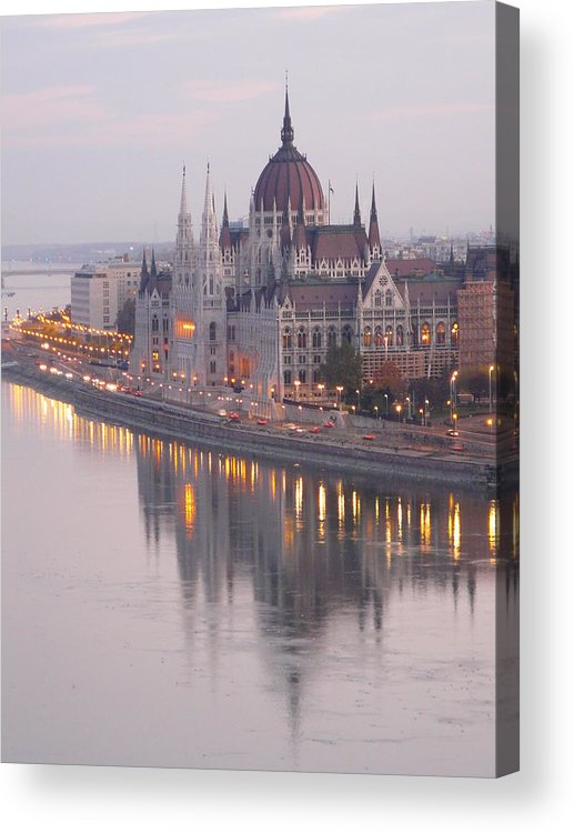 Outdoors Acrylic Print featuring the photograph Hungarian Parliament At Sunrise by Ilona Nagy