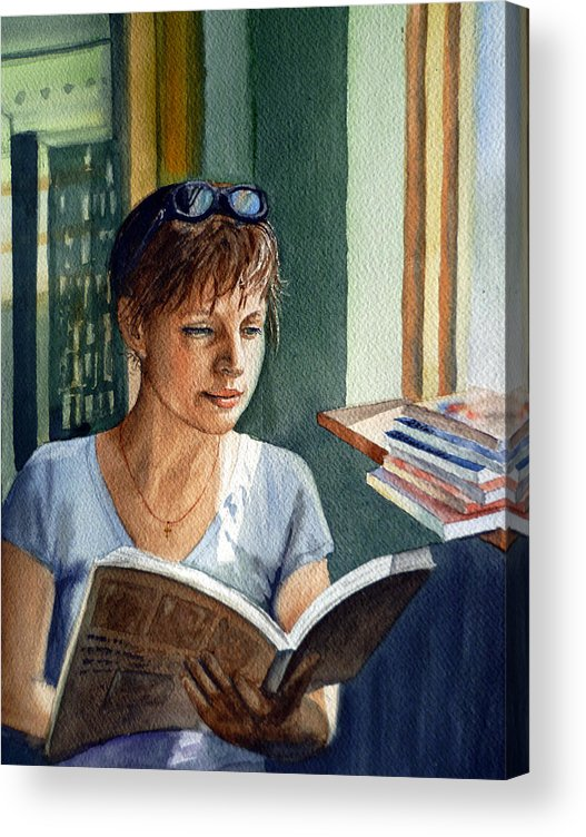 Woman Acrylic Print featuring the painting In The Book Store by Irina Sztukowski