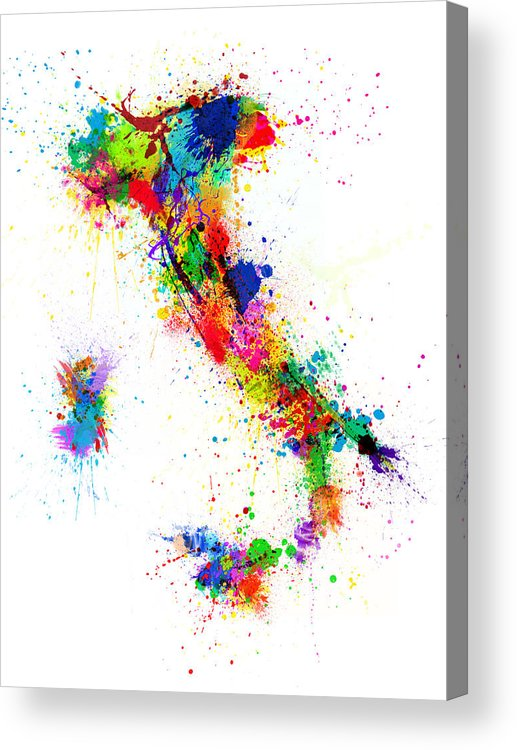 Italy Map Acrylic Print featuring the digital art Italy Map Paint Splashes by Michael Tompsett
