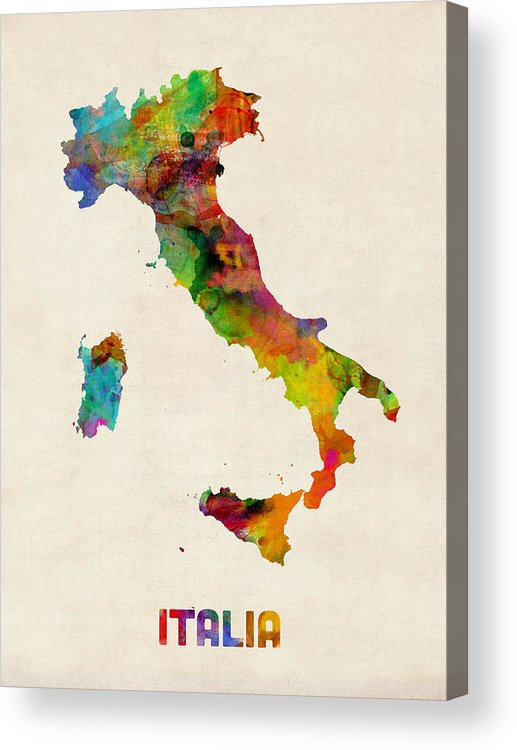 Italy Map Acrylic Print featuring the digital art Italy Watercolor Map Italia by Michael Tompsett