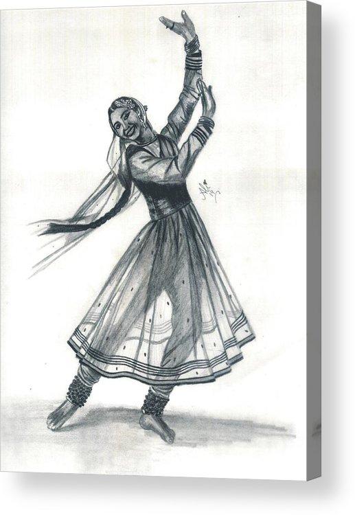 Kathak Dancer Acrylic Print By Bobby Dar