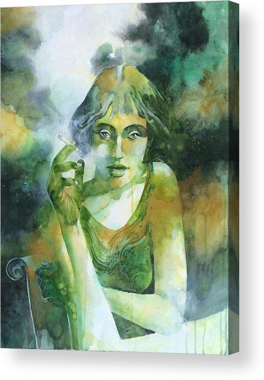 Girl Acrylic Print featuring the painting La ragazza che fumava gauloises by Alessandro Andreuccetti