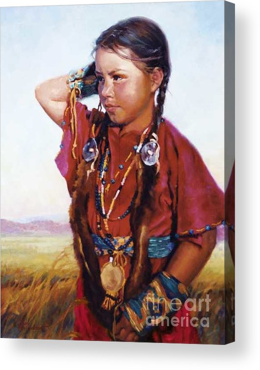 Indian Acrylic Print featuring the painting Little American Beauty II by Jean Hildebrant