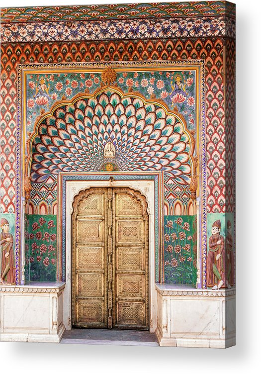Arch Acrylic Print featuring the photograph Lotus Gate In Jaipur City Palace by Hakat