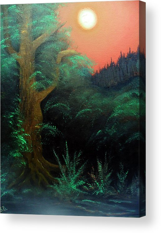Landscape Acrylic Print featuring the painting Magic forest by Sergey Bezhinets