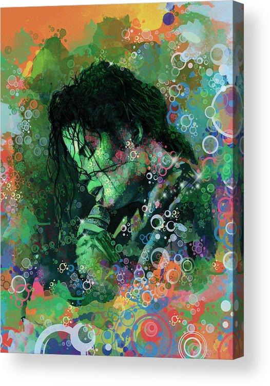 Michael Jackson Acrylic Print featuring the painting Michael Jackson 15 by Bekim M