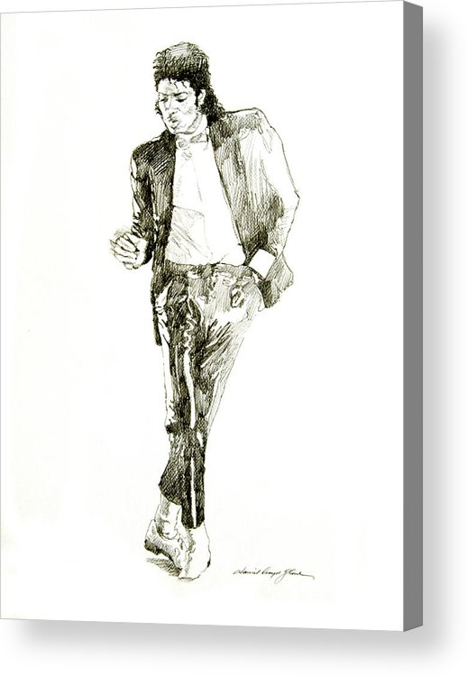 Michael Jackson Acrylic Print featuring the drawing Michael Jackson Billy Jean by David Lloyd Glover