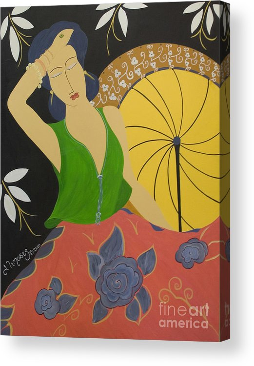 #female Acrylic Print featuring the painting Midnight Sun by Jacquelinemari