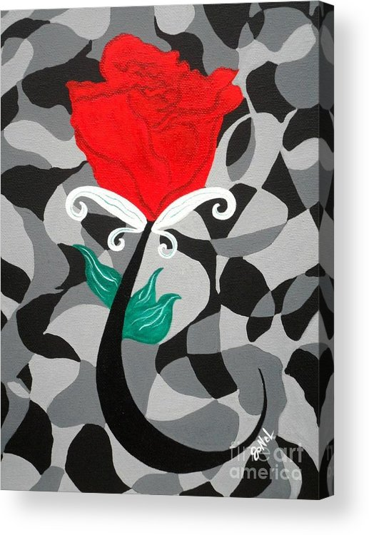 Rose Acrylic Print featuring the painting Mosaic Rose-Red by JoNeL Art