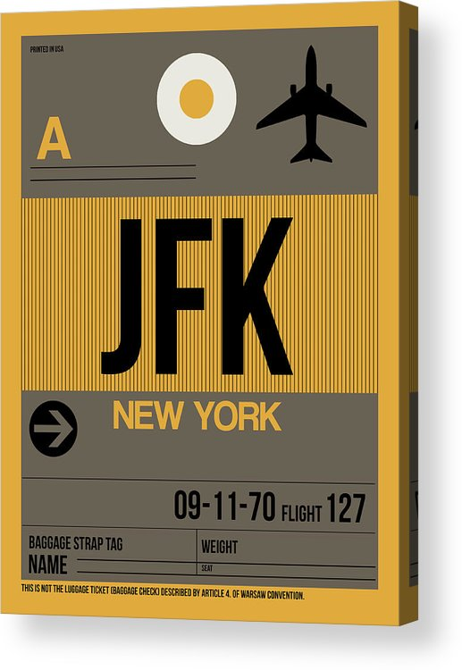 New York Acrylic Print featuring the digital art New York Luggage Tag Poster 3 by Naxart Studio