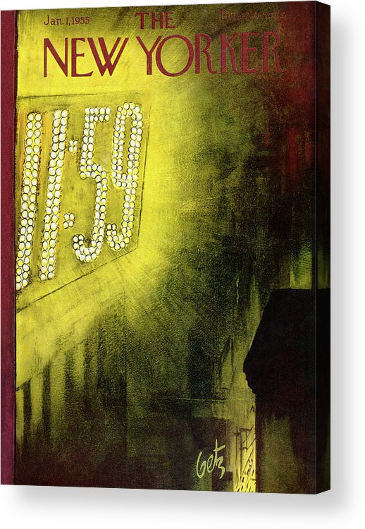 New Year Acrylic Print featuring the painting New Yorker January 1st, 1955 by Arthur Getz