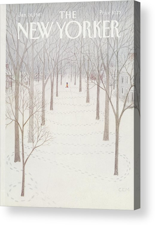 Season Acrylic Print featuring the painting New Yorker January 26th, 1981 by Charles E Martin