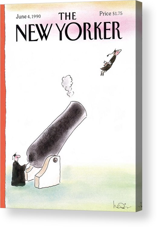 (a Young Graduate Is Shot From A Large Cannon.) Age Acrylic Print featuring the painting New Yorker June 4th, 1990 by Arnie Levin