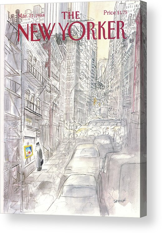 New York City Acrylic Print featuring the painting New Yorker March 21st, 1988 by Jean-Jacques Sempe