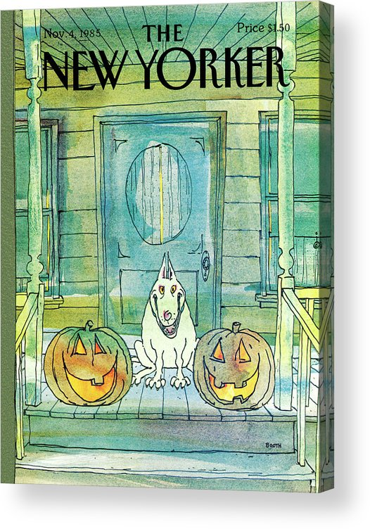 Dog Acrylic Print featuring the painting New Yorker November 4th, 1985 by George Booth